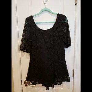 Fashion To Figure Black Lace Blouse